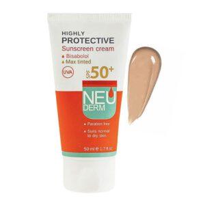 کرم ضد آفتاب SPF50 نئودرم ( رنگی تیره )